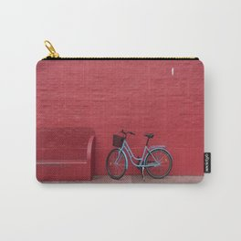 BLUE STEP-THROUGH BICYCLE PARK BESIDE OF RED BENCH Carry-All Pouch