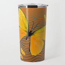 Dark Teal Yellow Butterflies Pattern Travel Mug