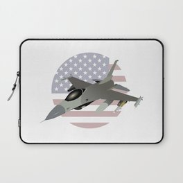 F-16 Jet Fighter with American Flag Laptop Sleeve