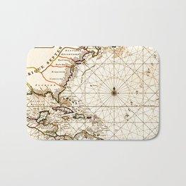 Vintage Atlantic Ocean Map Bath Mat
