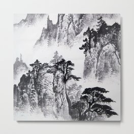 Chinese Traditional Charcoal Mountain Vista 1 Metal Print