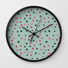 Neon pink black purple polka dots pattern Wall Clock