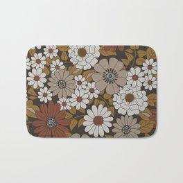 Brown, Orange, and Ivory Retro Flower Pattern Bath Mat