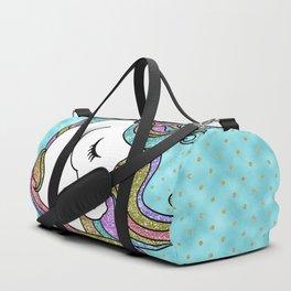 Turquoise Blue Faux Glitter Unicorn Rug Duffle Bag