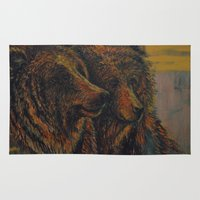 bears Area & Throw Rugs featuring Bears by lyneth Morgan