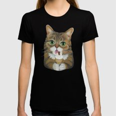 Lil Bub - famous cat MEDIUM Black Womens Fitted Tee
