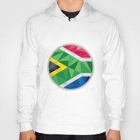 south africa Hoodies featuring South Africa Flag Icon Circle Low Polygon by patrimonio