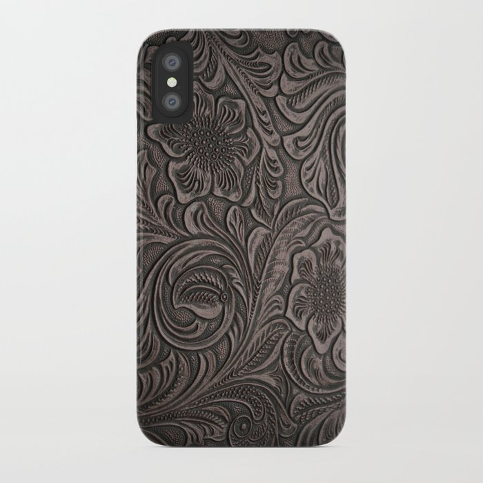 dd7652ea641 Distressed Smoky Tooled Leather iPhone Case by theghosttown   Society6