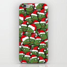 Sad christmas frogs pattern iPhone Skin