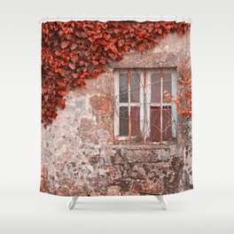 Red Ivy Wall Shower Curtain