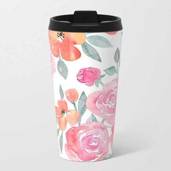 Amelia Floral in Pink and Peach Watercolor Metal Travel Mug