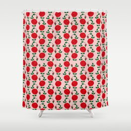 Red roses forma blue lady pattern Shower Curtain