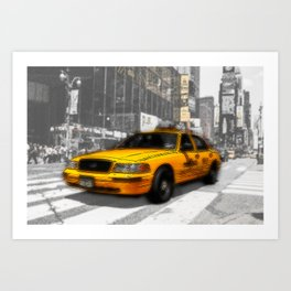 Yellow Cab at the Times Square Art Print