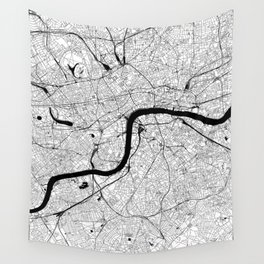 London Black and White Map Wall Tapestry