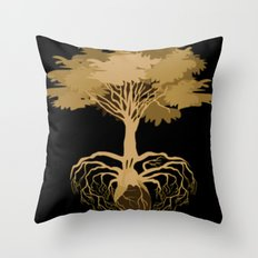 Heart Tree - Orange Throw Pillow