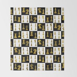 Chessboard and Gold Chess Pieces pattern Throw Blanket