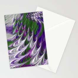Purple and Green Abstract Stationery Cards