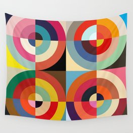 4 Seasons - Colorful Classic Abstract Minimal Retro 70s Style Graphic Design Wall Tapestry