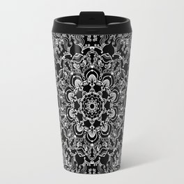 Mandala Project 212 | White Bohemian Lace on Black Travel Mug
