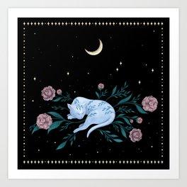 Cat Dreaming of the Moon Art Print
