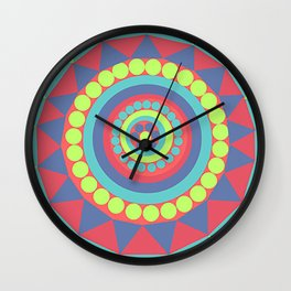 Bright Geometrical Abstract Circles and Triangles Flowers Wall Clock