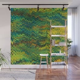 Abstract Organic Pattern Green and Yellow Wall Mural