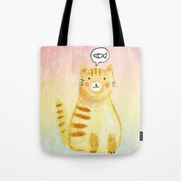 Watercolor Orange Cat Tote Bag