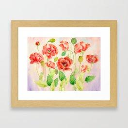 Watercolor Red Oriental Poppies Framed Art Print