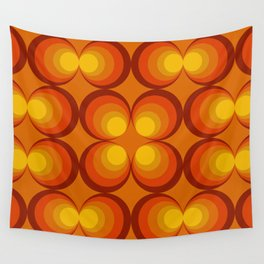 70s Circle Design - Orange Background Wall Tapestry