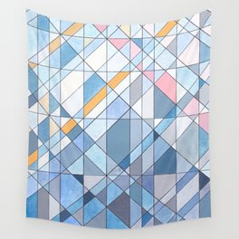 Triangle Pattern no.17 Light Blues Wall Tapestry
