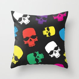 Skulls colorful pattern Throw Pillow