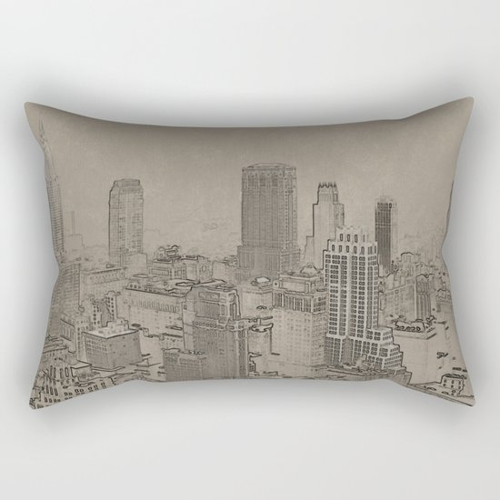 Old Cityscape Rectangular Pillow