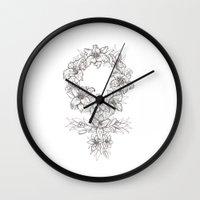 feminist Wall Clocks featuring Feminist Spring by Sophia Fredriksson Illustration