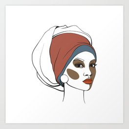 African American woman in headscarf with makeup. Abstract face. Fashion illustration Art Print