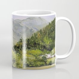 Pastures and Mount Mansfield Oil Landscape Vermont Painting Coffee Mug
