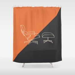 Eames Lounge // Mid Century Modern Minimalist Illustration Shower Curtain