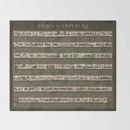 Bayeux Tapestry on Army Green - Full scenes & description Throw Blanket