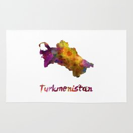 Turkmenistan  in watercolor Rug