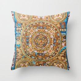 Buddhist Mandala Five Circles Mudra Throw Pillow
