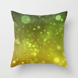 Green Bokeh Abstract Background Throw Pillow