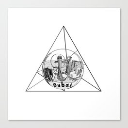 Graphic . geometric shape gray Dubai in a bottle Canvas Print