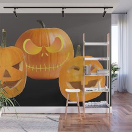 Orange Halloween Pumpkin faces Wall Mural