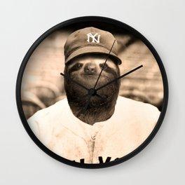 Baseball Sloth Wall Clock