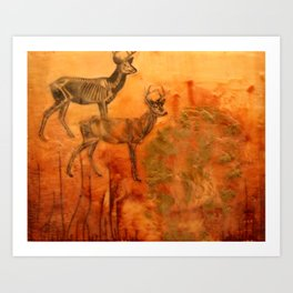 Here is a sad story about a deer and a man. Art Print