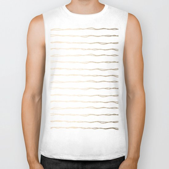 Simply Wavy Lines in White Gold Sands on White Biker Tank