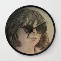 allyson johnson Wall Clocks featuring DAKOTA JOHNSON by Virginieferreux