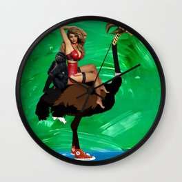 Retro Girl on an Ostrich -Surreal Digital Art - Funny Collage Wall Clock