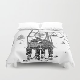 Snow Lift // Ski Chair Lift Colorado Mountains Black and White Snowboarding Vibes Photography Duvet Cover