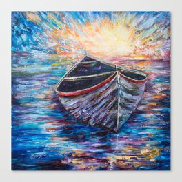 Wooden Boat at Sunrise - original oil painting with palette knife #society6 #decor #boat Canvas Print