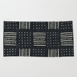 Mud cloth in black and white Beach Towel